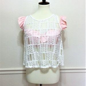 ISSI White Crochet Lace Semi Crop Top
